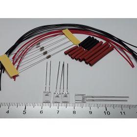 Led rectangulaire 5x2mm rouge à câbler - par sachet de 4