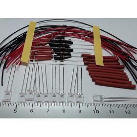 Led rectangulaire 5x2mm rouge à câbler - par sachet de 10