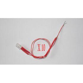 Led 5mm Effet Bougie rouge diffusante opaque X10