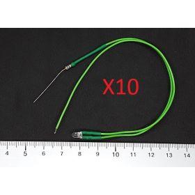 Led 3mm Vert - Par sachet de 10