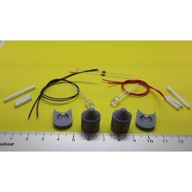 Kit fanal feux de mât avec support gris 14x20mm et leds à câbler