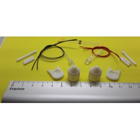 Kit fanal feux de mât avec supports  blanc14x20mm avec leds à câbler