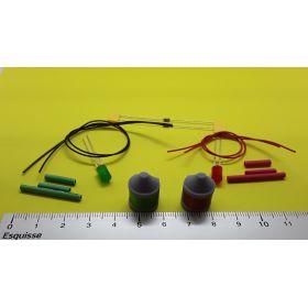 Kit fanal feux de position gris 14x20mm avec leds à câbler