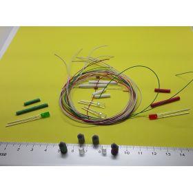 Kit fanal feux de position et feux de mât gris 5 x 12mm et leds à câbler