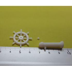 Roue de barre 25 mm avec support blanche