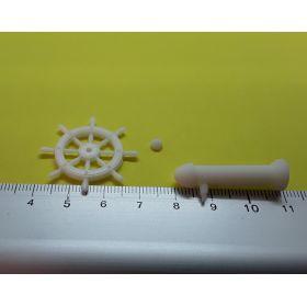 Roue de barre 30 mm avec support blanche