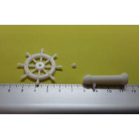 Roue de barre 40 mm avec support blanche