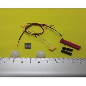 Support et globe 10 x 6 mm blanc éclairage cabine avec kit 2 leds à câbler blanc chaud