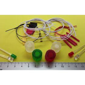 Kit fanal feux de navigation 15x15mm et 4 leds cylindrique à câbler