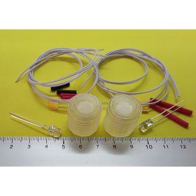 Kit fanal feux de navigation 20x20mm blanc et leds cylindrique blanc chaud à câbler
