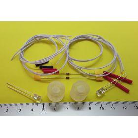 kit fanal feux de navigation 15x15mm blanc et leds cylindrique blanc froid à câbler