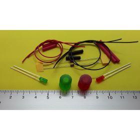 Kit fanal feux de navigation 10x10mm et leds cylindrique à câblées