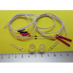 Kit fanal feux de navigation 10x10mm blanc et leds cylindrique blanc froid à câbler