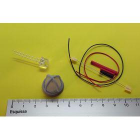 Kit globe avec protection gris 20x20mm et led blanc chaud à câbler
