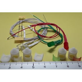 Kit fanal feux de position et mât blanc 8x12mm et leds câblées