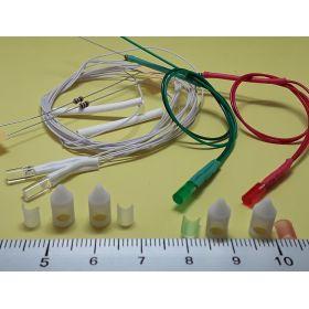 Kit fanal feux de position et mât blanc 5x12mm et leds câblées