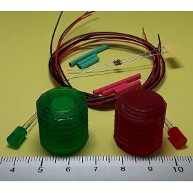 Kit  fanal feux de navigation 20x20mm et leds cylindrique à câbler