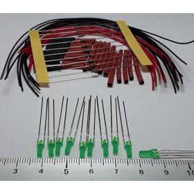 Led 2mm carré vert diffusant à câbler - par sachet de 10
