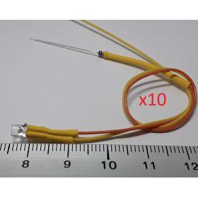 Led cylindrique 3mm court jaune ambre - par sachet de 10