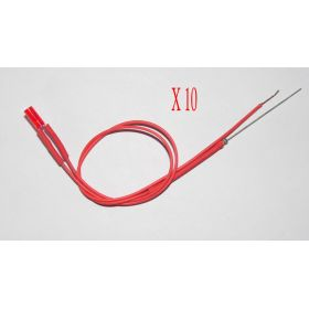 Led Tube Cylindrique 3mm Long Rouge Diffusant - Par sachet de 10