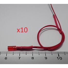 Led tube cylindrique 3mm long rouge diffusant - par sachet de 10