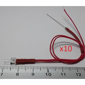 Led canon long 2mm rouge - par sachet de 10
