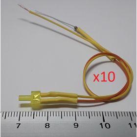 Led canon long 2mm jaune ambre diffusant - par sachet de 10