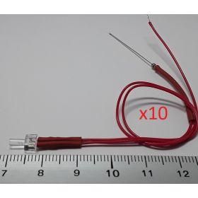 Led canon long 2mm clignotante rouge - par sachet de 10