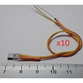 Led rectangulaire 5x2mm jaune ambre - par sachet de 10