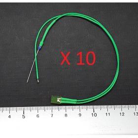 Led rectangulaire 5x2mm vert diffusant - par sachet de 10