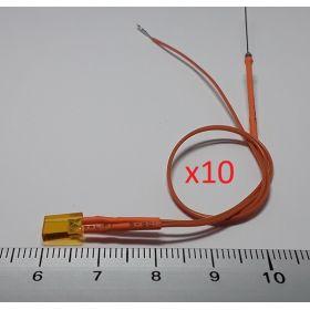 Led rectangulaire 5x2mm orange diffusant - par sachet de 10