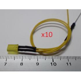 Led rectangulaire 5x2mm jaune ambre diffusant - par sachet de 10