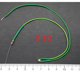 Led Rectangulaire 3x2mm Vert Diffusant  - Par sachet de 10