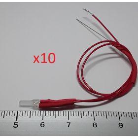 Led 2mm carré rouge - par sachet de 10