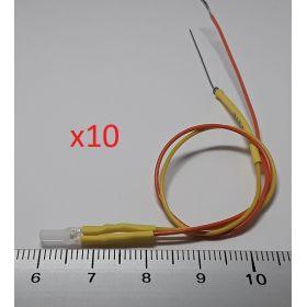 Led 2mm carré jaune ambre - par sachet de 10