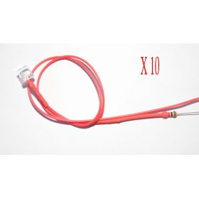 Led Tube Cylindrique 5mm Rouge  - Par sachet de 10