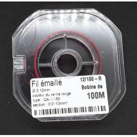 Bobine Fil Emaillé couleur rouge  0,12mm  100m