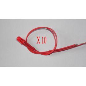 Led 5mm rouge diffusant clignotante - Par sachet de 10