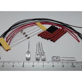 Led 5mm rouge/bleu clignotante à câbler - par sachet de 4