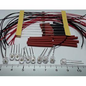 Led grand angle 5mm rouge à câbler - par sachet de 10