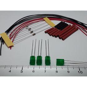 Led cylindrique 5mm vert diffusant à câbler - par sachet de 4