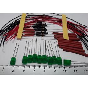 Led cylindrique 5mm vert diffusant à câbler - par sachet de 10