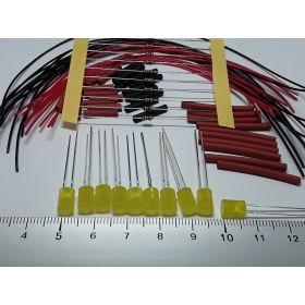 Led cylindrique 5mm jaune ambre diffusant à câbler - par sachet de 10