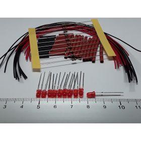Led 3mm rouge diffusant à câbler - par sachet de 10