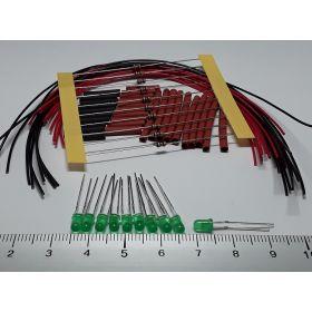 Led 3mm vert diffusant à câbler - par sachet de 10