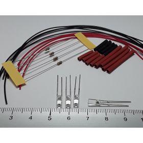 Led cylindrique 3mm long rouge à câbler - par sachet de 4