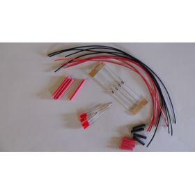 Led cylindrique 3mm long rouge diffusant à câbler - par sachet de 4
