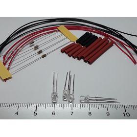 Led clignotante 3mm rouge/bleu à câbler - par sachet de 4