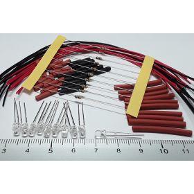Led clignotante 3mm rouge/bleu à câbler - par sachet de 10